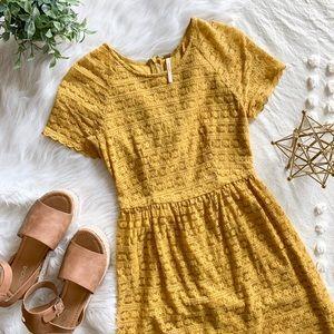 FP Mustard Yellow Crochet Lace Dress